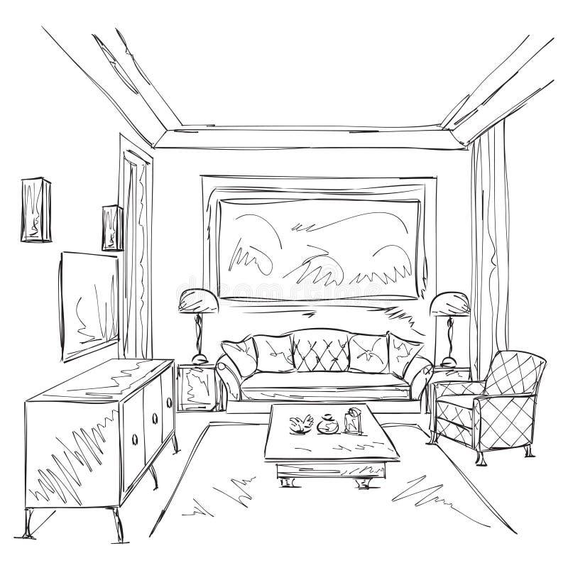 Esboço interior moderno da sala Cadeira e mobília imagens de stock royalty free