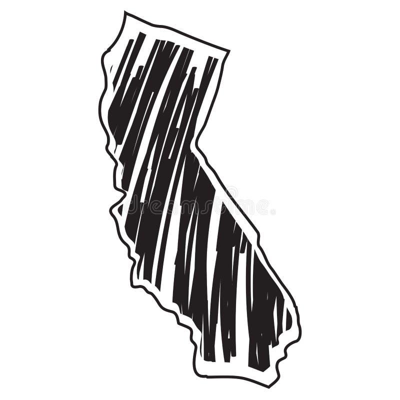 Esboço isolado dos Estados da Califórnia ilustração stock