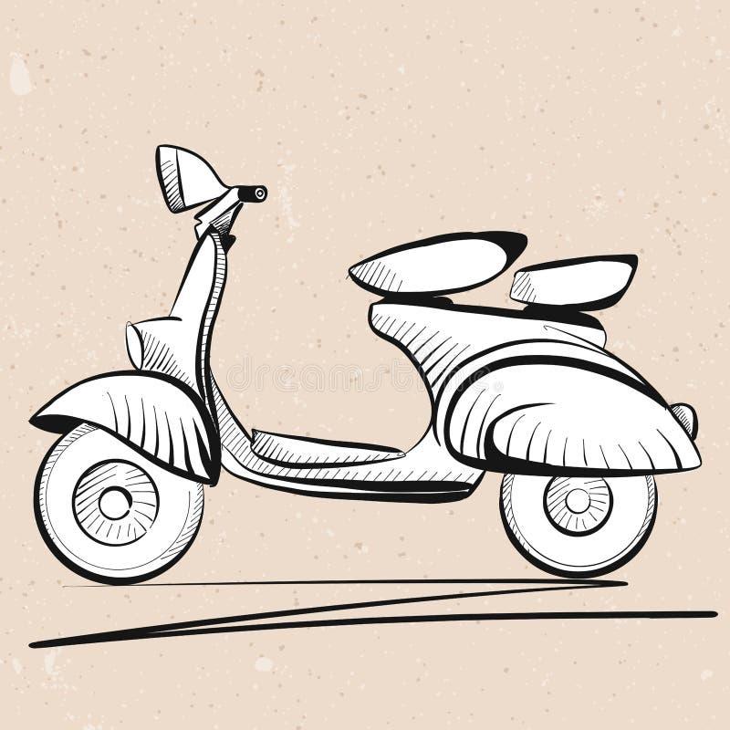 Esboço italiano do esboço do 'trotinette' no fundo do vintage ilustração do vetor