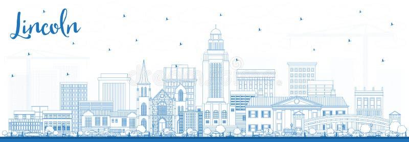 Esboço Lincoln Nebraska City Skyline com construções azuis ilustração royalty free