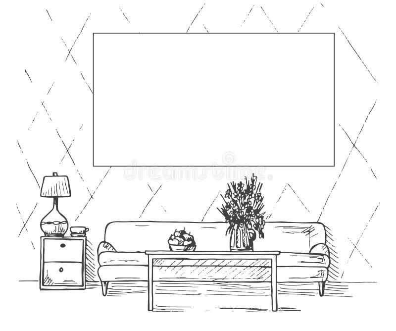 Esboço linear de um interior Sofá, tabela, tabela de cabeceira, lâmpada, flor Quadro na parede para caber sua informação Mão dese ilustração do vetor