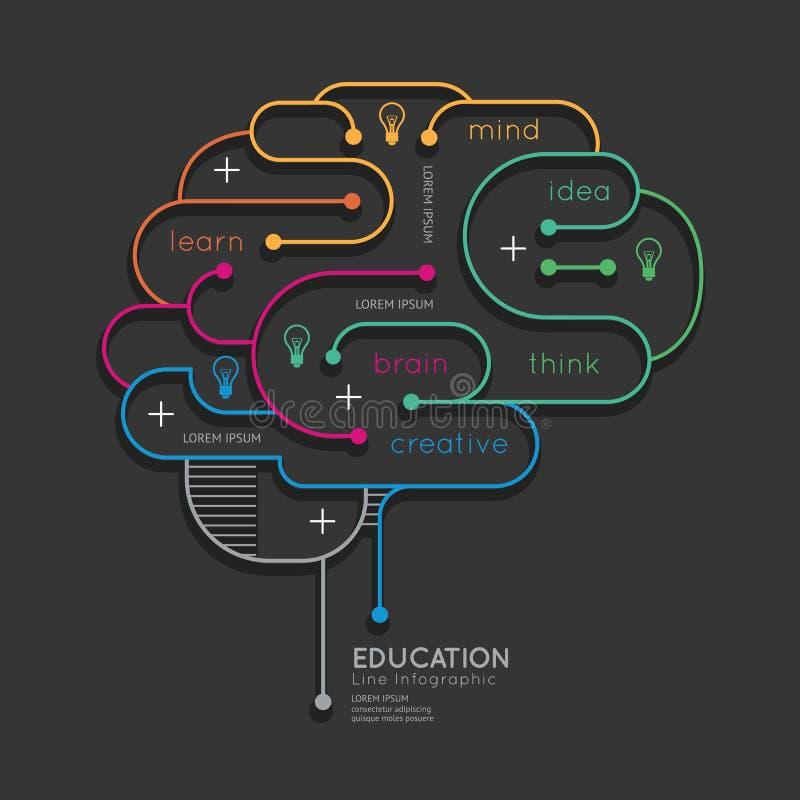 Esboço linear liso Brain Concept da educação de Infographic Vetor ilustração royalty free