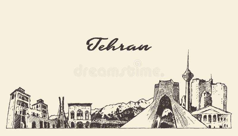Esboço linear tirado Irã da arte do vetor da skyline de Tehran ilustração do vetor