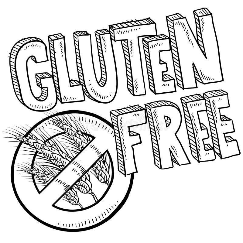 Esboço livre do alimento do glúten ilustração stock