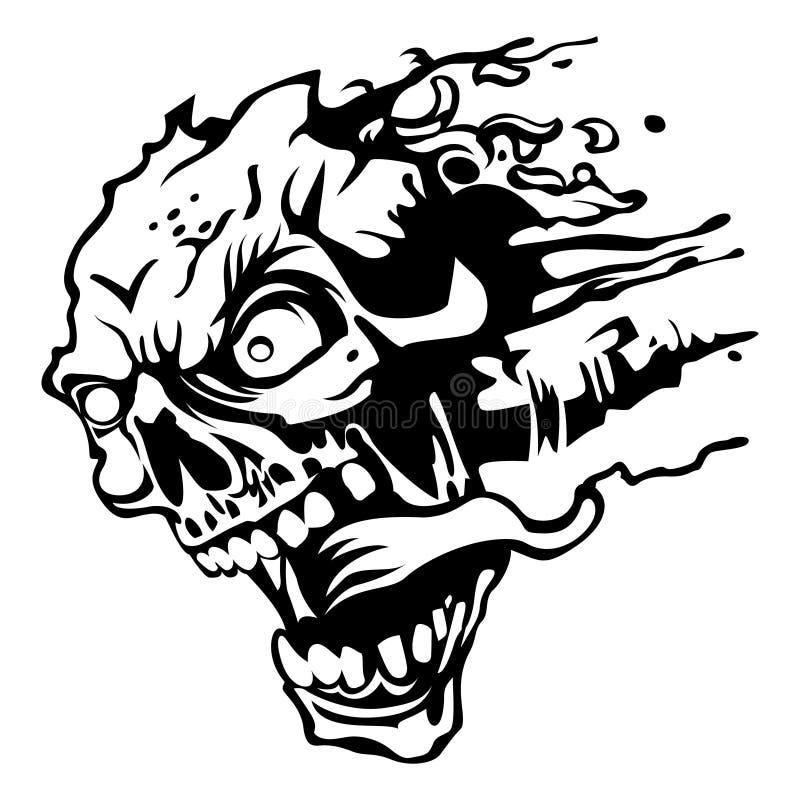 Esboço louco da cabeça do zombi ilustração royalty free