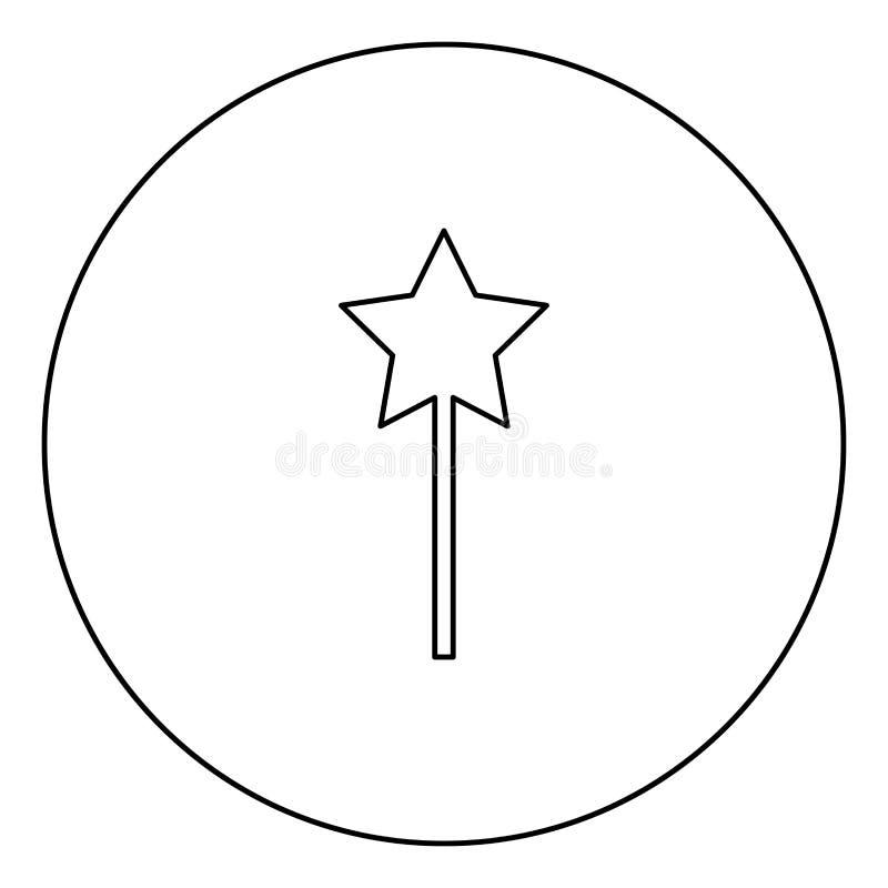 Esboço mágico do ícone do preto da varinha na imagem do círculo ilustração do vetor