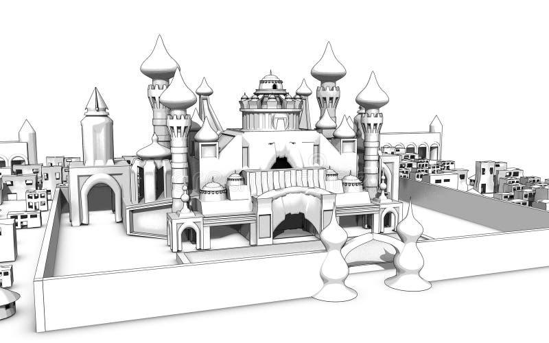 Esboço mágico do palácio ilustração do vetor