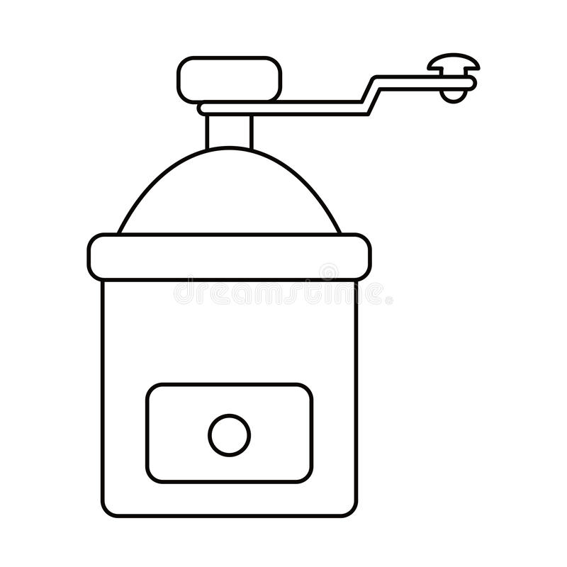 esboço manual da imagem do moedor de café ilustração stock