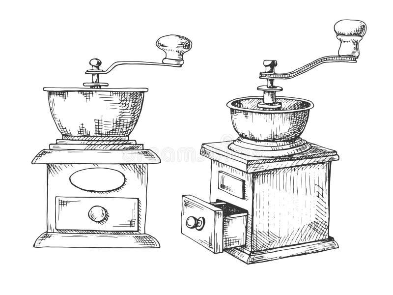 Esboço manual retro do moedor ou do moinho de café no estilo do vintage ilustração do vetor
