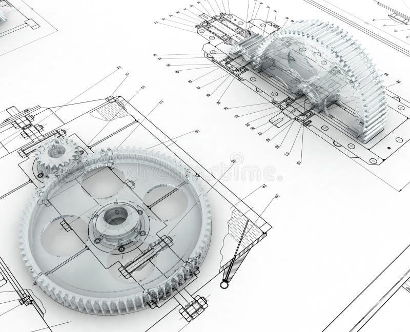 Esboço mecânico com engrenagens ilustração royalty free