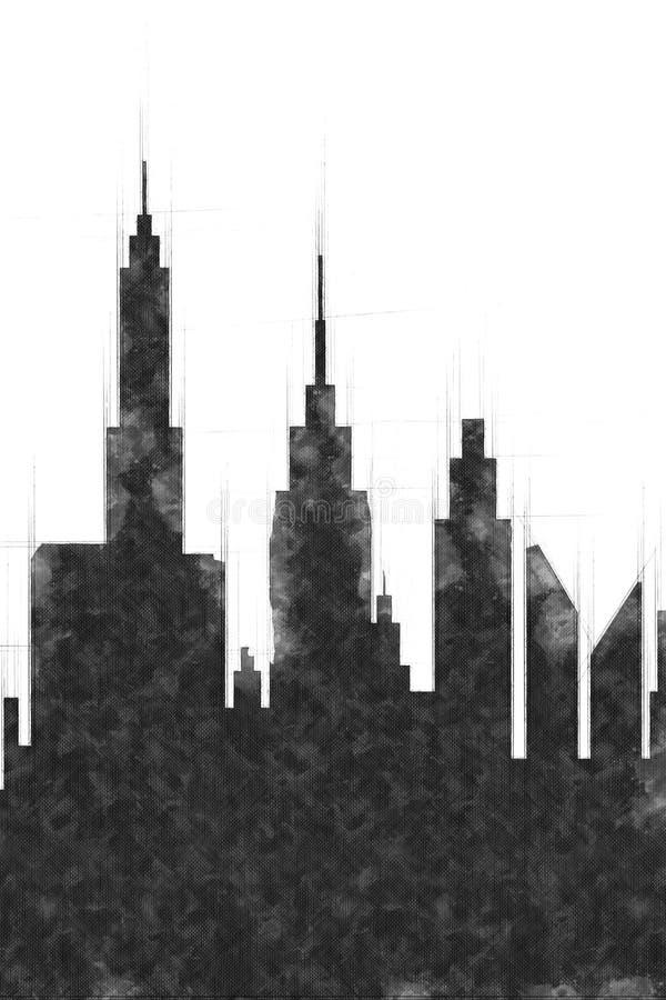 Esboço moderno das construções e do arranha-céus da cidade ilustração stock