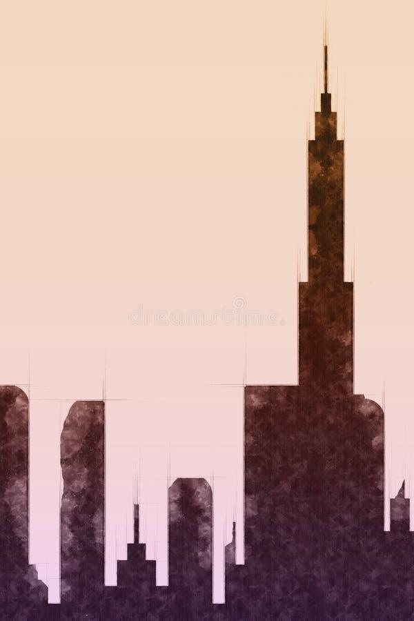 Esboço moderno das construções e do arranha-céus da cidade ilustração royalty free