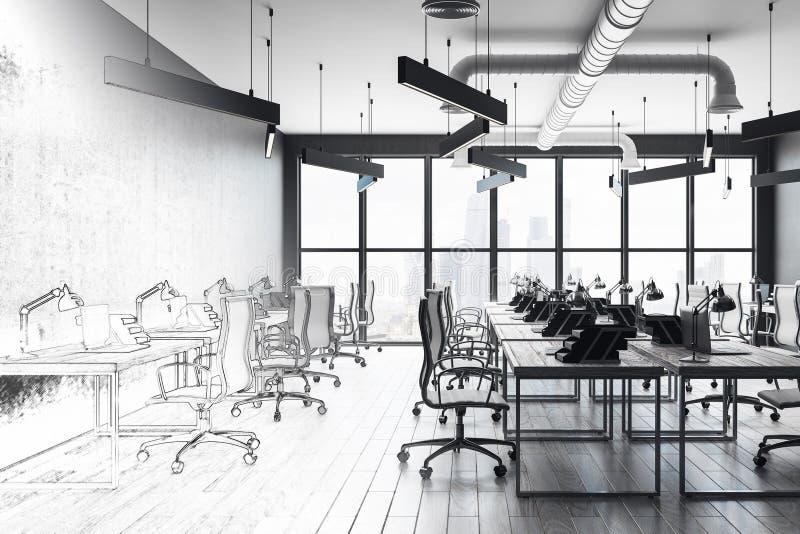 Esboço moderno do interior do escritório ilustração stock