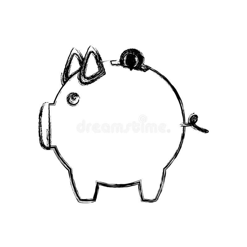 esboço monocromático da caixa de dinheiro na forma de leitão ilustração royalty free