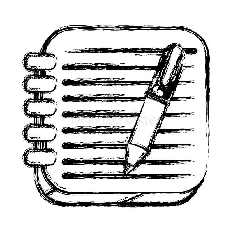 esboço monocromático do botão quadrado com caderno espiral e pena ilustração royalty free