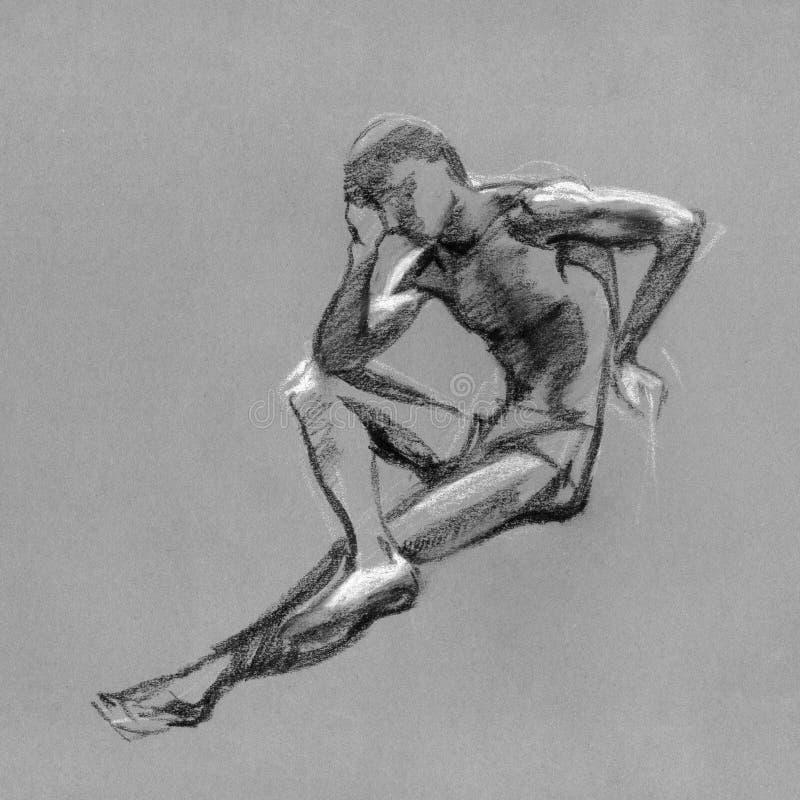 Esboço no carvão vegetal e no giz do corpo do homem do nude ilustração do vetor