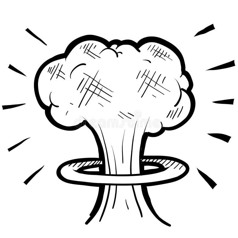 Esboço nuclear do cogumelo atómico ilustração stock