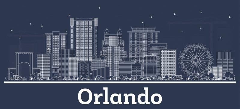 Esboço Orlando Florida City Skyline com construções brancas ilustração royalty free