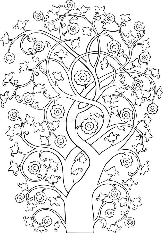 Esboço ornamentado da silhueta da árvore do vintage ilustração stock