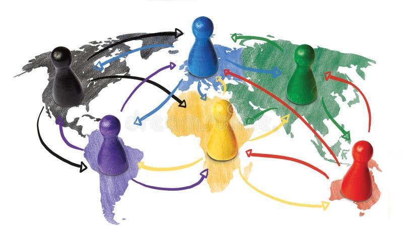 Esboço ou conceito handdrawn para a globalização, trabalhos em rede globais, curso ou conexão ou transporte global ilustração do vetor