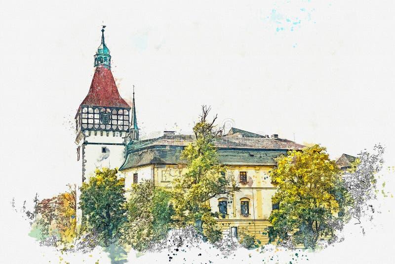 Esboço ou ilustração da aquarela Castelo bonito Blatna em República Checa ilustração do vetor
