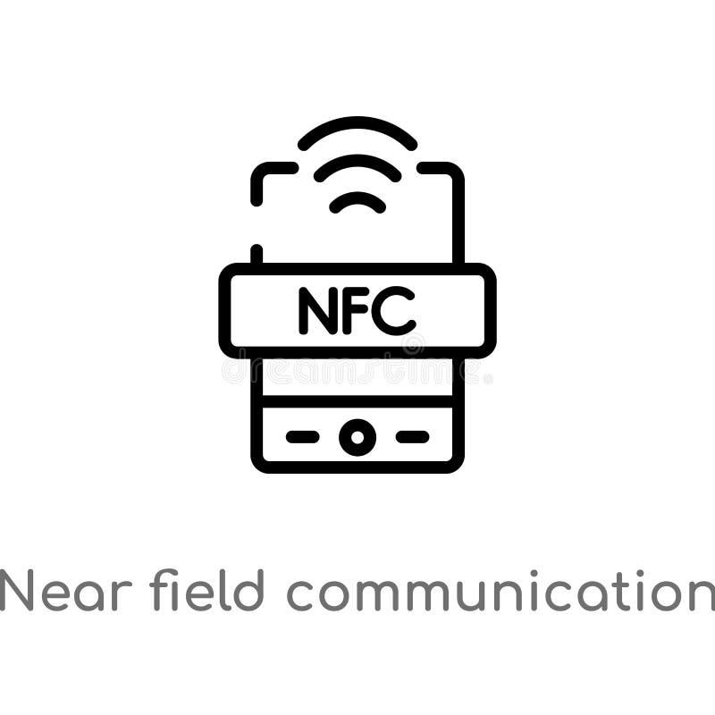 esboço perto do ícone do vetor de uma comunicação do campo linha simples preta isolada ilustração do elemento do conceito da tecn ilustração do vetor