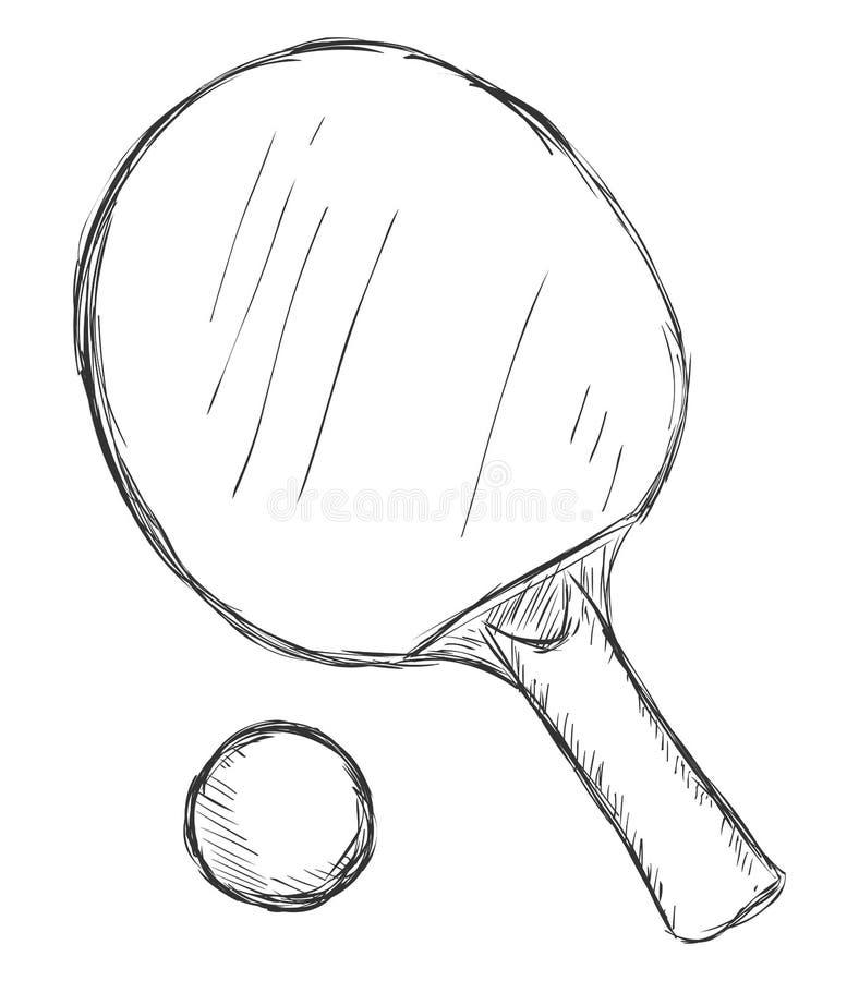 Esboço Ping-Pong Racket do vetor e bola ilustração stock