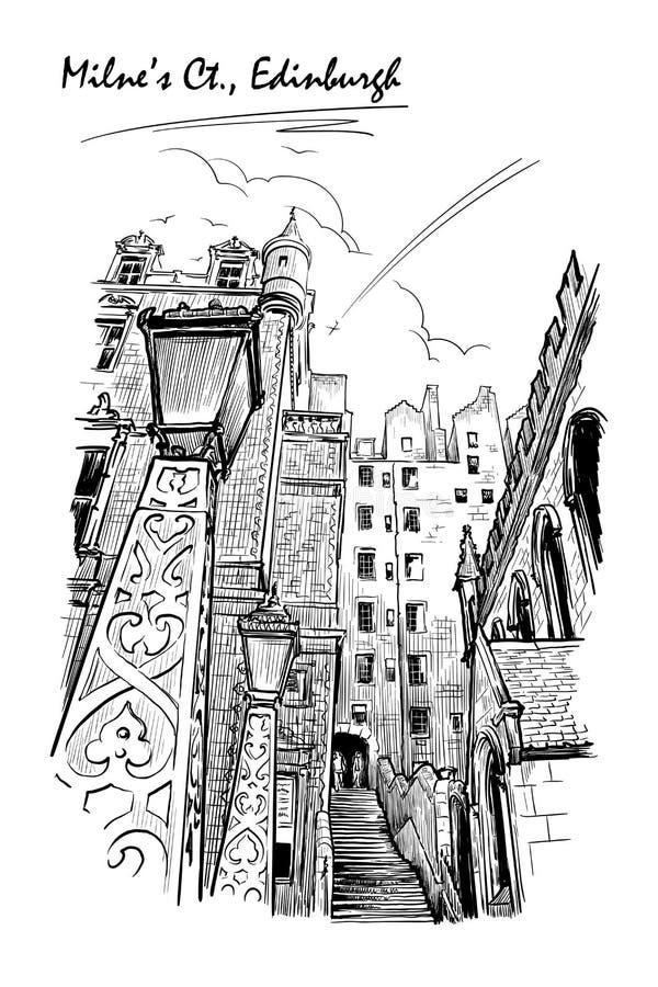 Esboço preto e branco da corte de Milnes ilustração royalty free