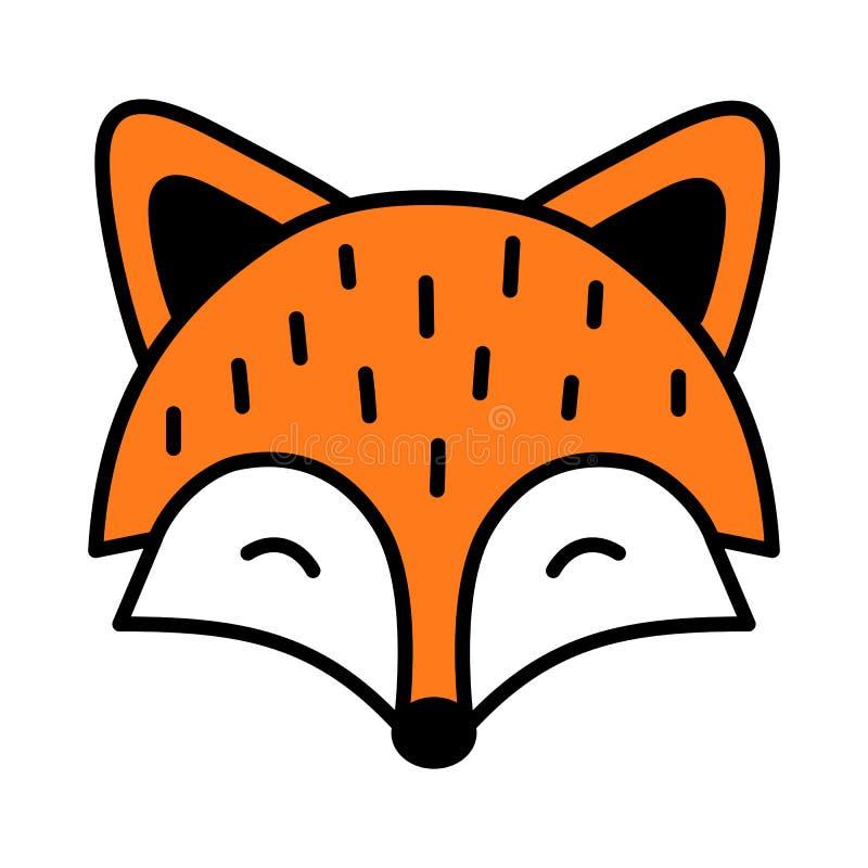 Esboço preto isolado do sono raposa bonito ilustração royalty free