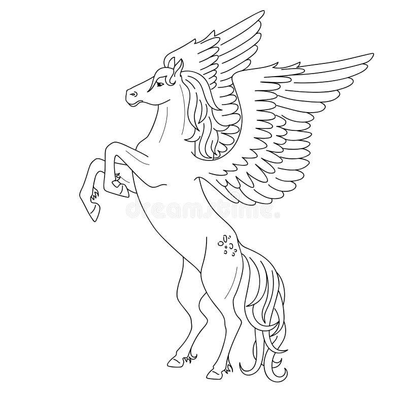 Esboço preto isolado que eleva pegasus no fundo branco Opinião lateral o cavalo com asas Linhas da curva Página do livro para col ilustração stock