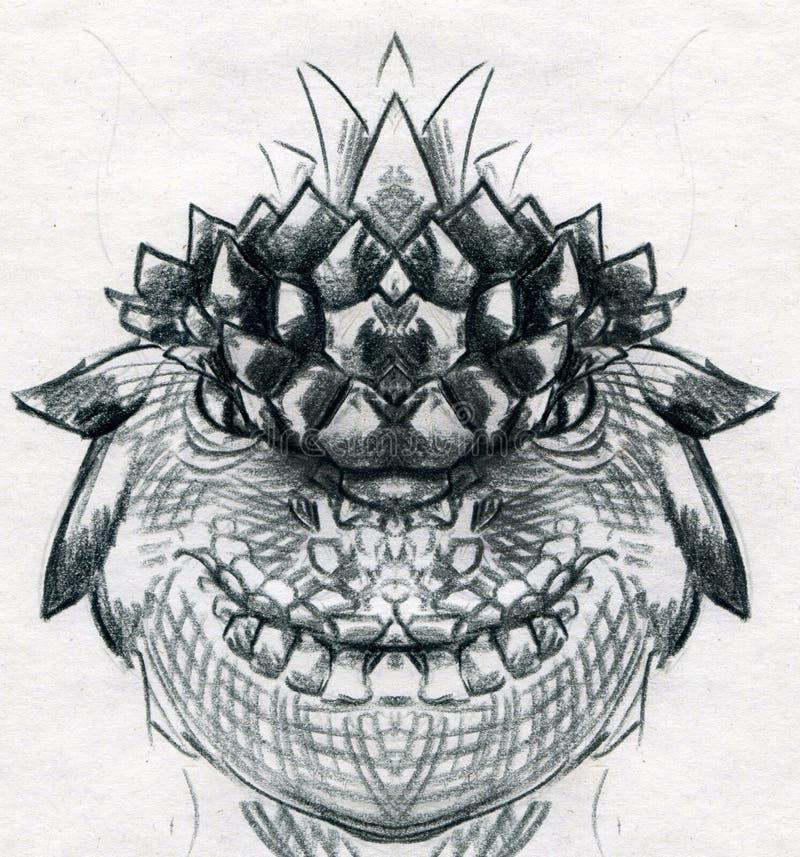 Esboço principal do dragão ilustração do vetor