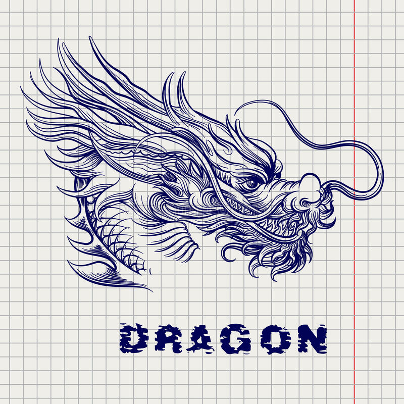 Esboço principal do dragão na página do caderno ilustração stock