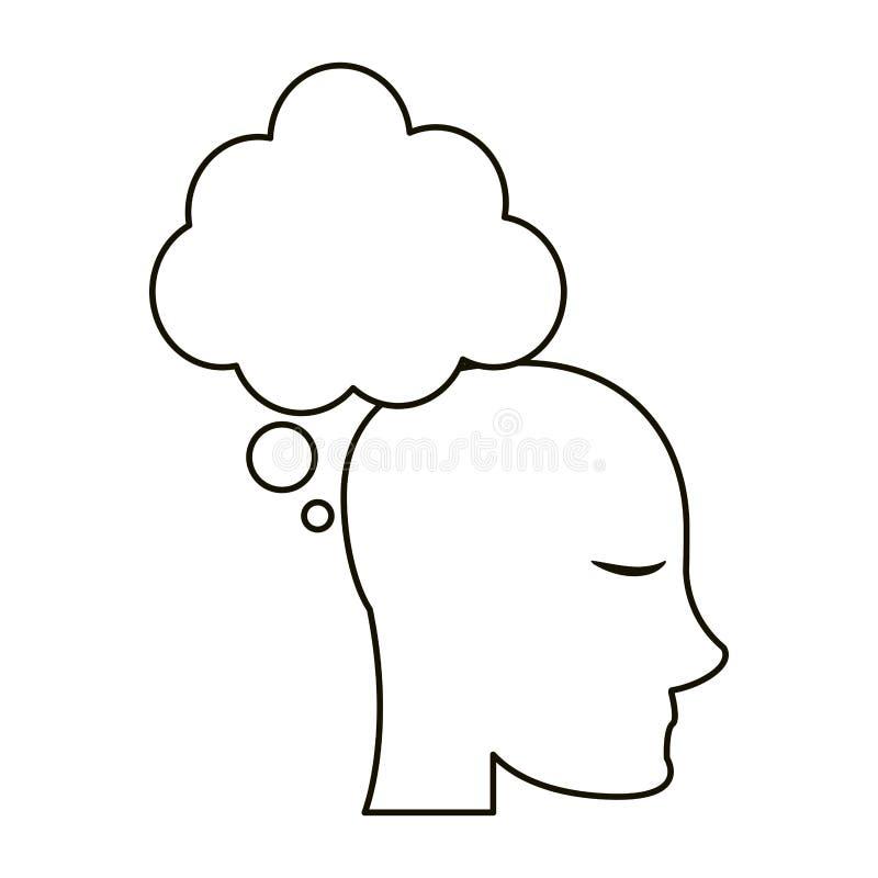 Esboço principal do pensamento da bolha do perfil ilustração royalty free