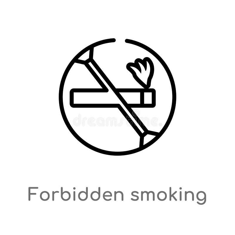 esbo?o proibido fumando o ?cone do vetor linha simples preta isolada ilustra??o do elemento do conceito dos sinais Curso edit?vel ilustração do vetor