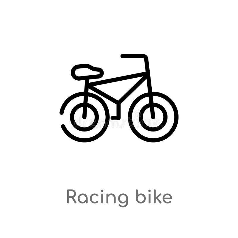 esboço que compete o ícone do vetor da bicicleta linha simples preta isolada ilustração do elemento do conceito dos esportes Curs ilustração do vetor
