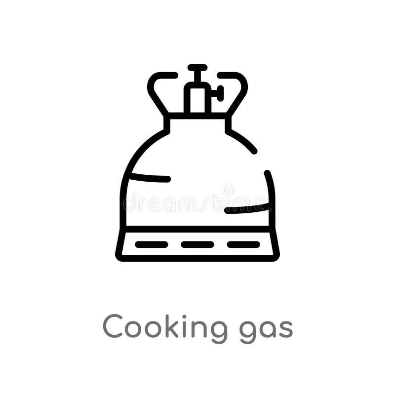 esboço que cozinha o ícone do vetor do gás linha simples preta isolada ilustração do elemento do conceito de acampamento Curso ed ilustração royalty free