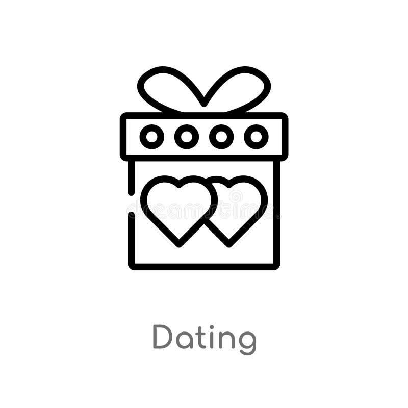 esboço que data o ícone do vetor linha simples preta isolada ilustração do elemento do conceito do amor & do casamento Curso edit ilustração royalty free
