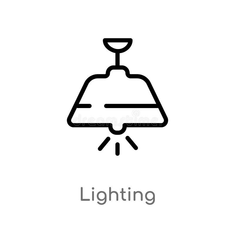 esboço que ilumina o ícone do vetor linha simples preta isolada ilustração do elemento do conceito esperto da casa Curso editável ilustração stock