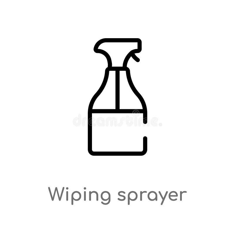 esboço que limpa o ícone do vetor do pulverizador linha simples preta isolada ilustração do elemento do conceito de limpeza Curso ilustração stock