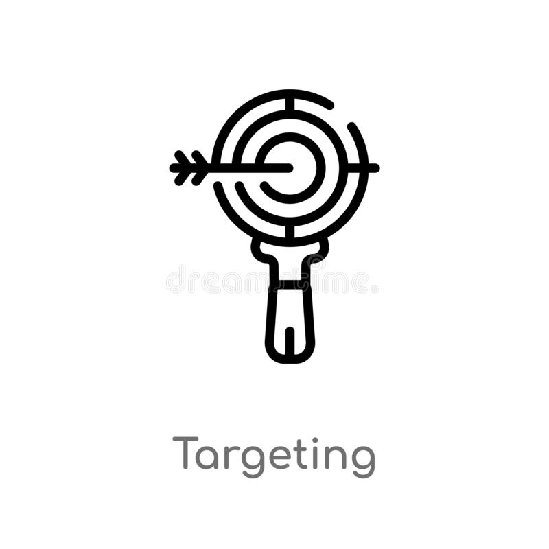 esboço que visa o ícone do vetor linha simples preta isolada ilustração do elemento do conceito da otimização do Search Engine ed ilustração do vetor