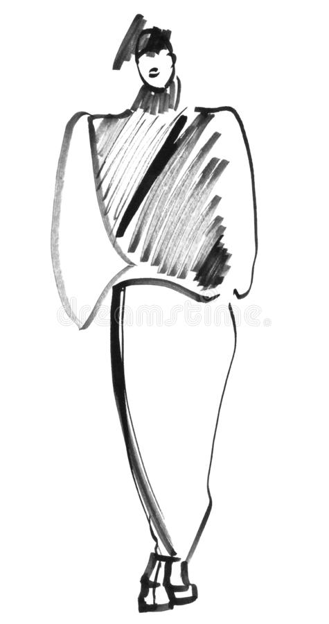 Esboço rápido no preto Estilo dos anos 80 ilustração royalty free