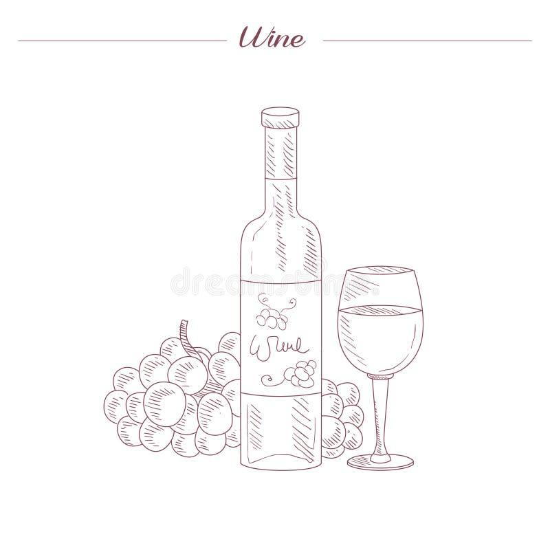 Esboço realístico tirado mão da garrafa e do vidro de vinho ilustração stock