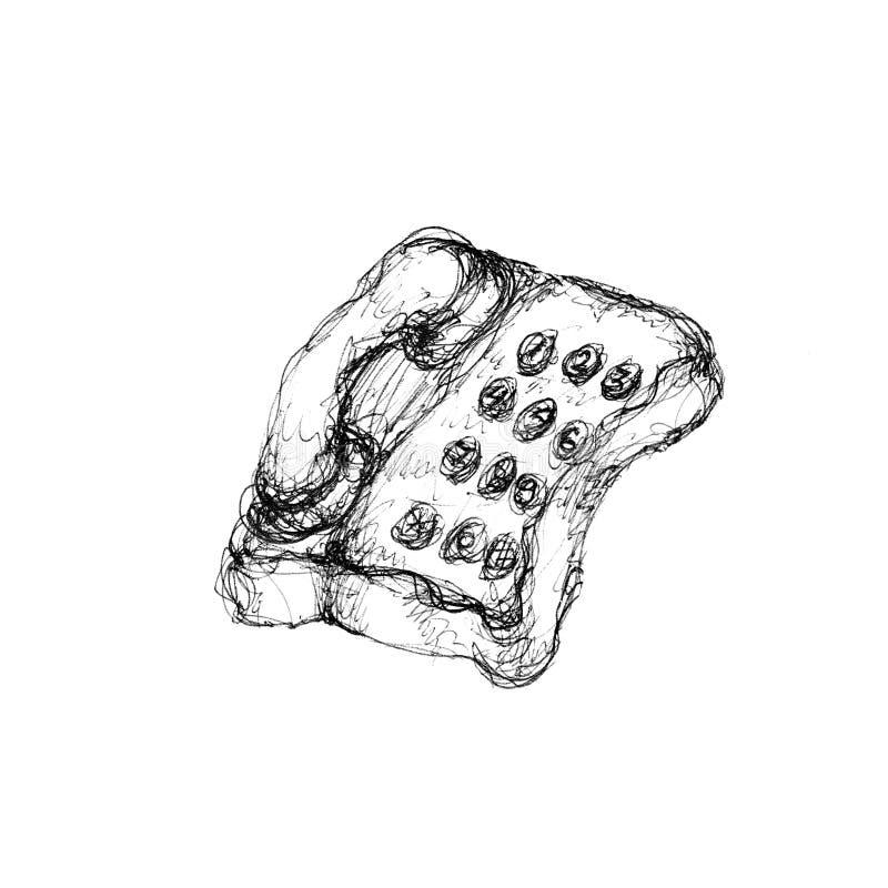 Esboço retro do objeto do telefone isolado no branco ilustração royalty free