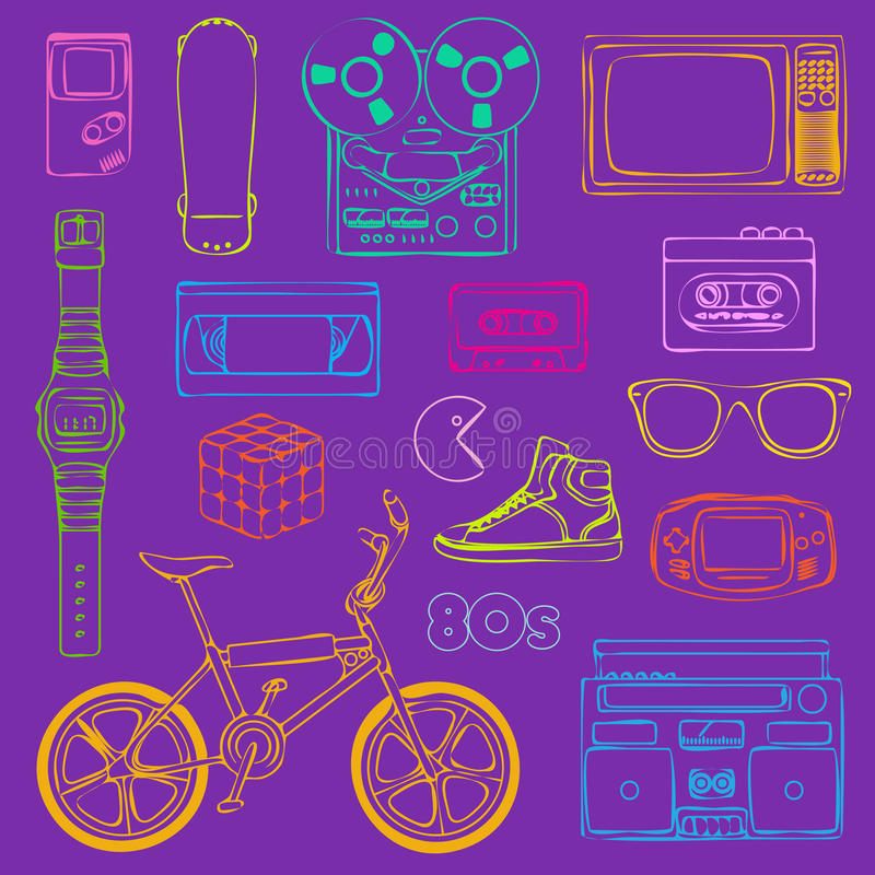 esboço retro dos objetos 80s imagem de stock royalty free