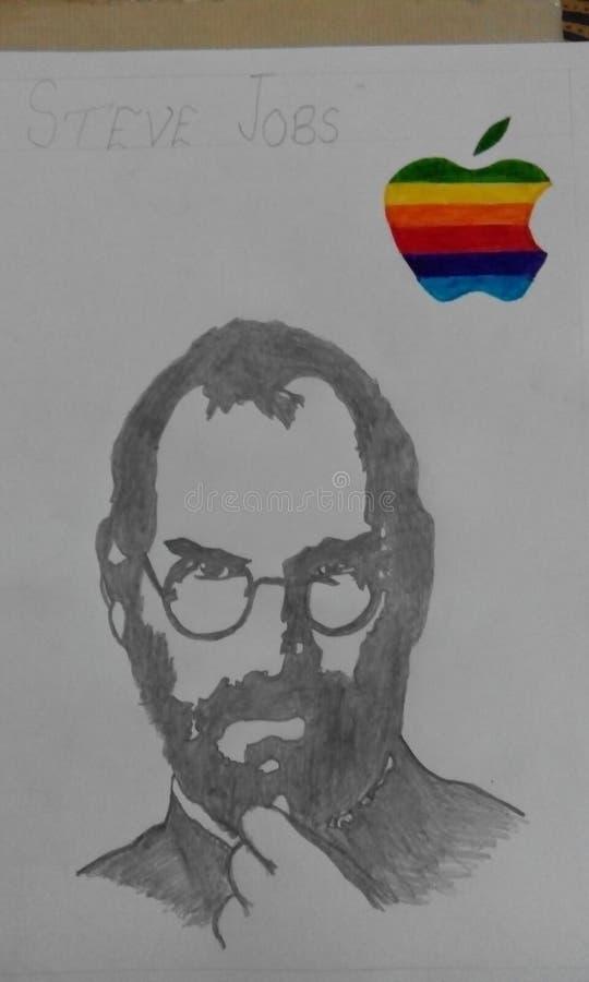 esboço rico succeful da mão da maçã de Steve Jobs foto de stock royalty free