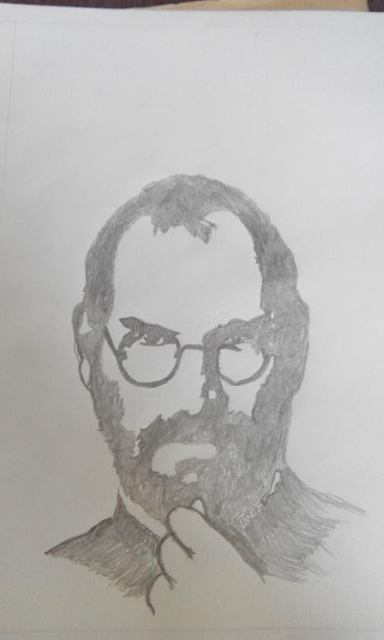 esboço rico succeful da mão da maçã de Steve Jobs imagem de stock royalty free