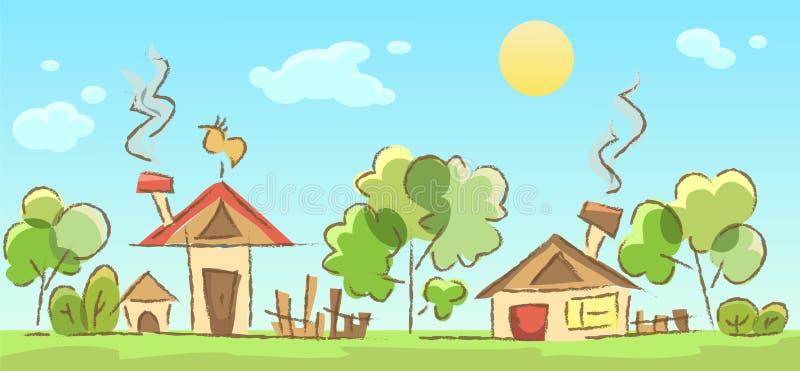 Esboço rural da paisagem ilustração do vetor
