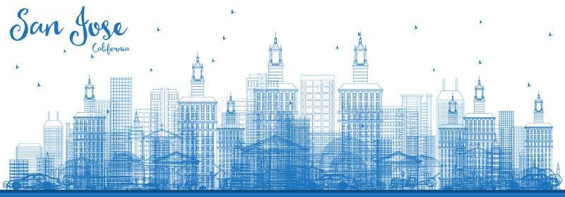 Esboço San Jose California Skyline com construções azuis ilustração do vetor