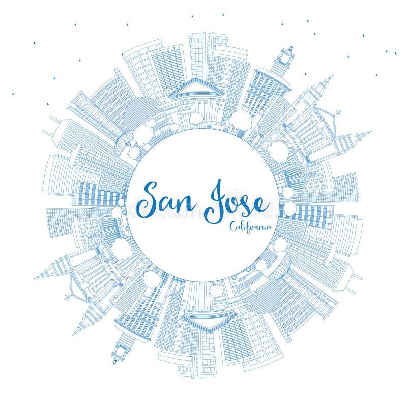 Esboço San Jose California Skyline com construções e cópia azuis ilustração do vetor