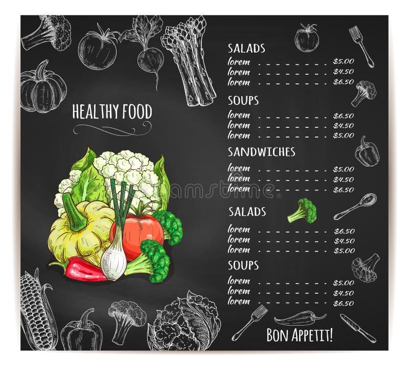Esboço saudável do vetor dos vegetais do menu do alimento ilustração stock